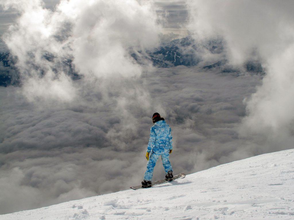 woman overlooking snow