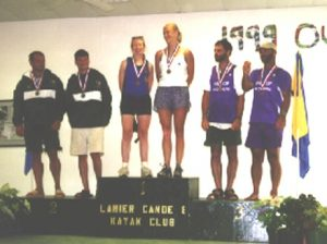Pam Boteler in 2000 with C2 partner Heather McNie after winning gold at US Nationals (Men's class), the first time women were allowed to compete ; Photo courtesty of Pam Boteler